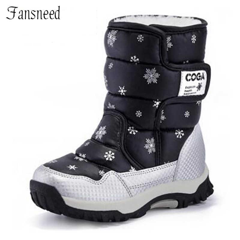 Для девочек сапоги 2018 зимние водонепроницаемые сапоги до колена Детские  зимние сапоги обувь для мальчиков сапоги 9a2b7b6ee97