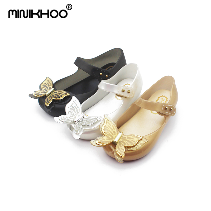Mini Melissa 2018 New 3D Butterfly Jelly Princess Shoes Melissa Sandals Cute Bow Girls Shoes Non-slip Wear Jelly Melissa Sandals