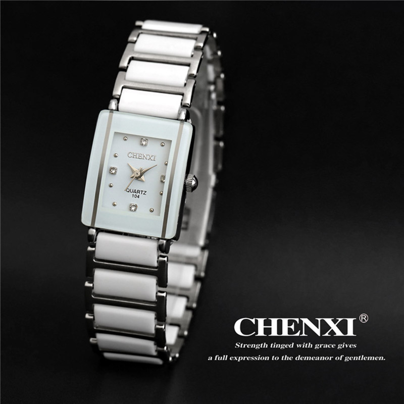 CHENXI Brand Lady Watch Elegant Black Ceramics Simple Minimalism Small Narrow Quartz Casual Watch Woman Rhinestone