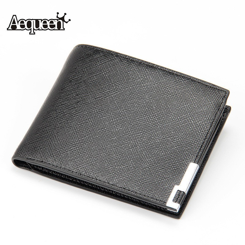 AEQUEEN Men Wallets Leather Short Wallet Bifold Purses Fashion Card Holder Coin Purse Mens Notecase Business Thin Bifold Pouch japan anime katekyo hitman reborn wallet cosplay men women bifold coin purse