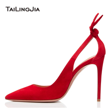 цена Elegant Pointed Toe High Heel Pumps with Bow Black Court Shoes Women Red Evening Dress Heels Ladies Summer Shoes Big Size 2018 онлайн в 2017 году