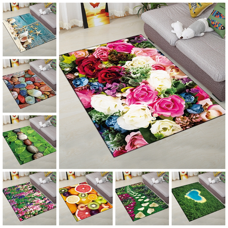 120*160cm Creative Rugs European Flowers Living Room Carpet Type 3D Printing Hallway Doormat Anti-Slip Bathroom Kitchen Mat