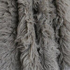 Image 5 - Sky Blue Shaggy Wool Fur Fluffy Baby Posing Fabric Fur Nebworn Cover Blanket Natural Curly Wool Backdrop Bean Bag Blanket Props