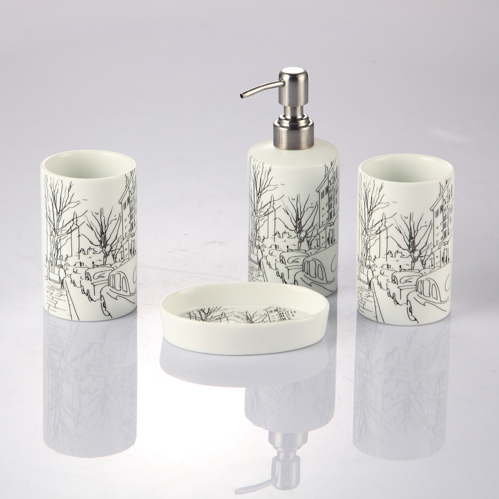 Incroyable Porcelain Bathroom Set High Quality Ceramic Elegant Bathroom Set Gift Box  Four Piece Set Tumbler Fashion Bath Accessories In Bathroom Accessories  Sets From ...