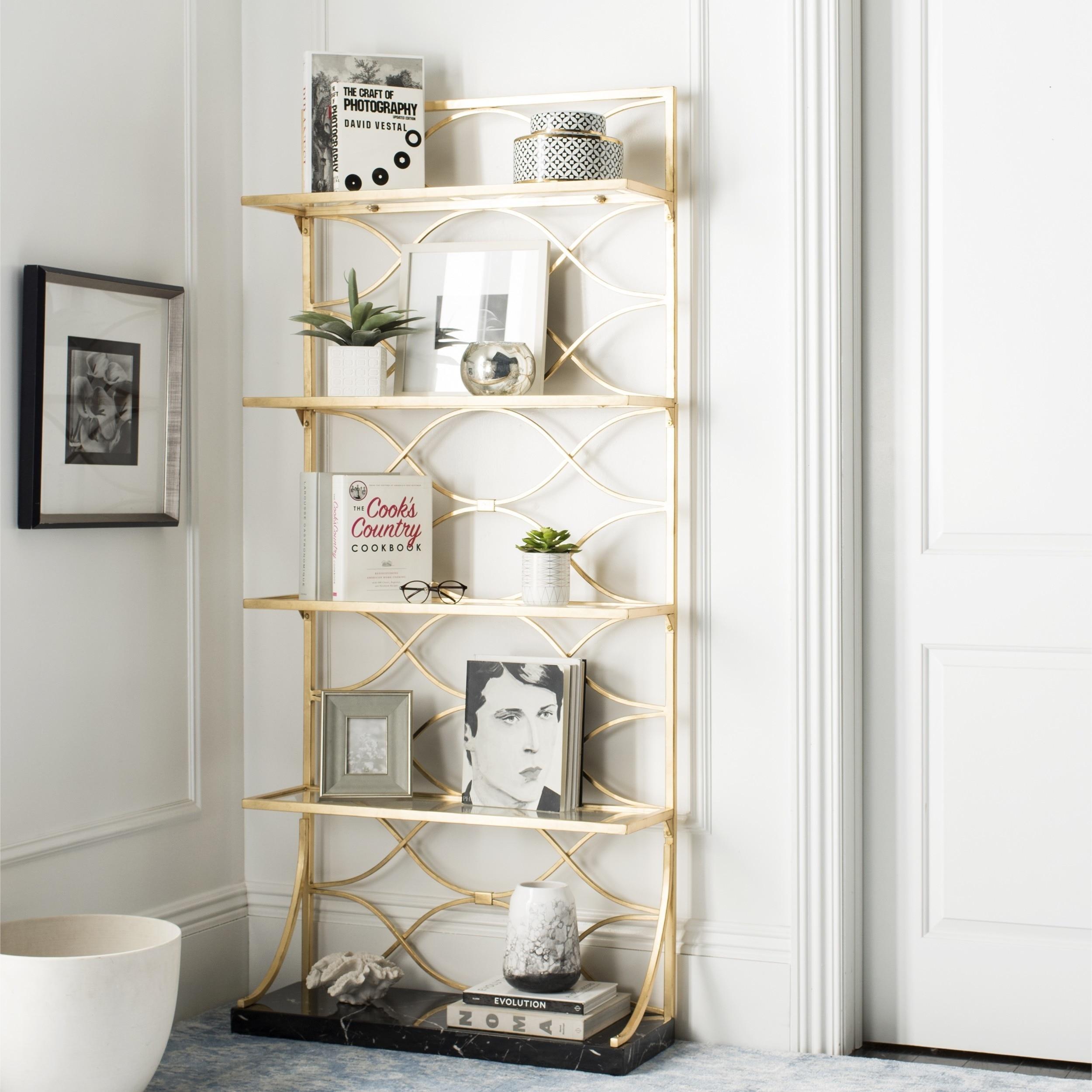 Étagère de salle de bain étagère d'angle sur pied étagère sur pied bibliothèque en or brossé étagère de rangement étagère à vin, support universel