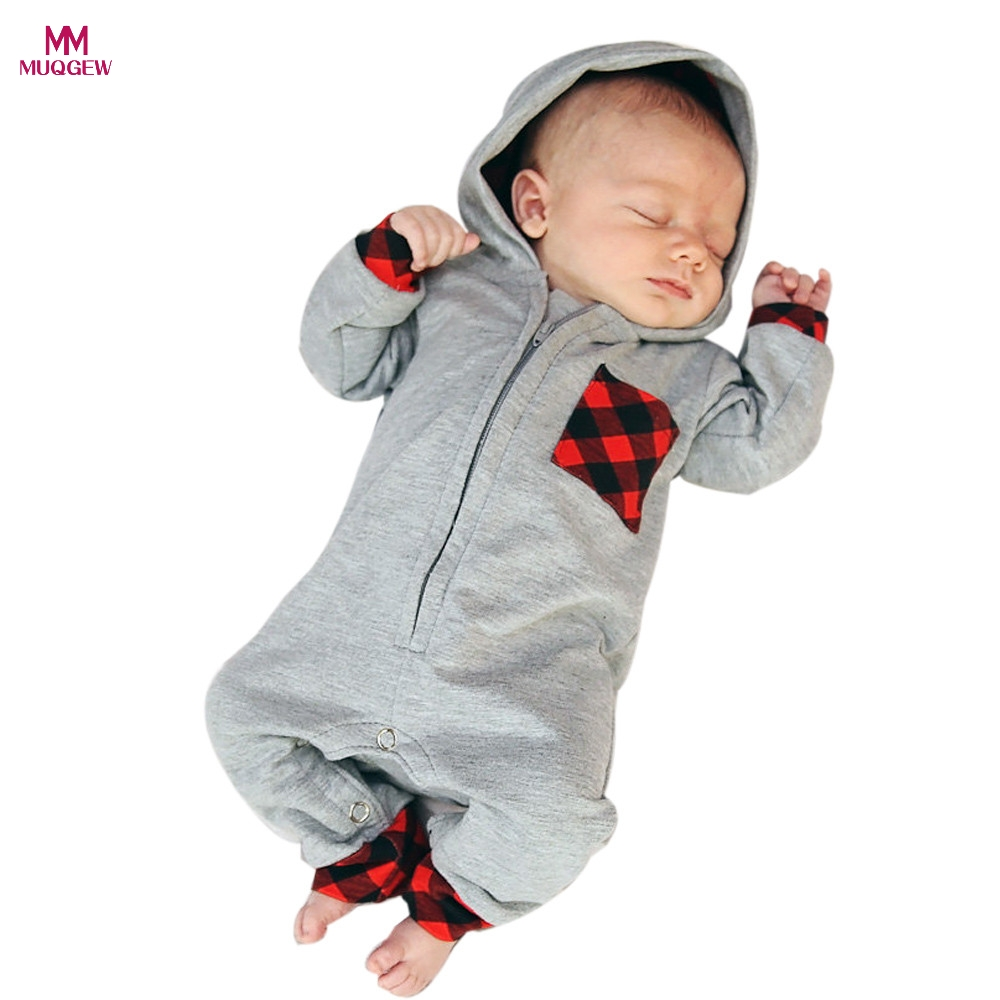 Fashion Warm Newborn Infant Baby Boy Girl Plaid Hooded Romper Jumpsuit Long Sleeve Autumn Comfortable Rompers Outfits Clothes