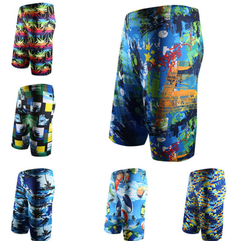 e2e768b5f5 2018 Swimwear Men graffiti 3D Print Beach Wear Men Long Trunks Swim Briefs  Surf sports Beach