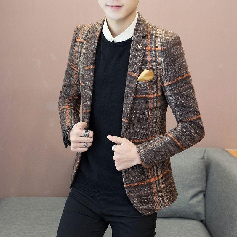 Casual Blazer Men 2019 Autumn Winter Thick Plaid Slim Male Suit Jackets Turn-Down Collar Button Men's Blazers 4XL Jacket Suits