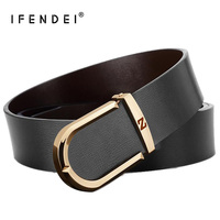 IFENDEI Luxury Genuine Leather Belts Men High Quality New Designers Gold Silver Buckle Belt For Husband