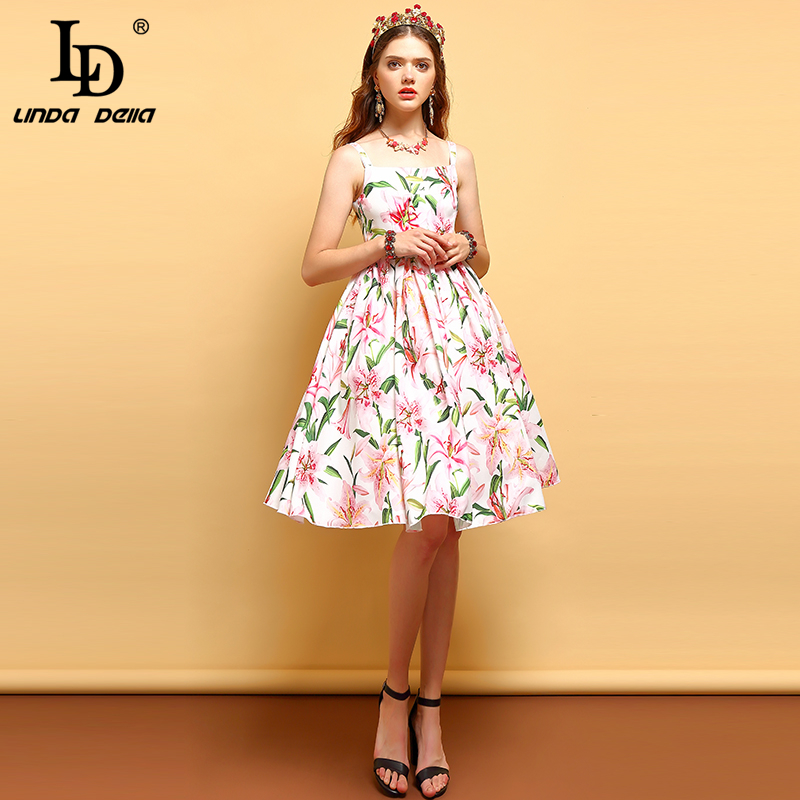 LD LINDA DELLA Summer Fashion Vintage Dress Women Short Sleeve Sexy Spaghetti Strap Backless Pleat Floral