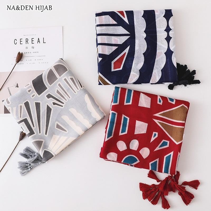 NEW geometric hijab scarf tassel Fashion print scarf woman scarves and shawls bohemian brand design soft