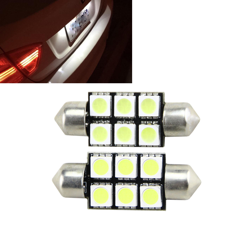 2pcs 36mm C5W 6 SMD 5050 LED White/Blue/Red 12V Car License Plate lights Bulb Reading Dome Festoon Lamp Door Light