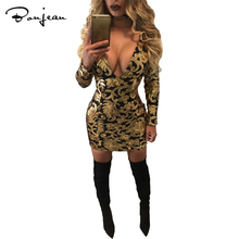 Women Spring 2017 Black Dress Sexy Bodycon Long Sleeve Sheath Gold Pattern Mesh Deep V Neck Dresses Party Wear Dresses Nightclub
