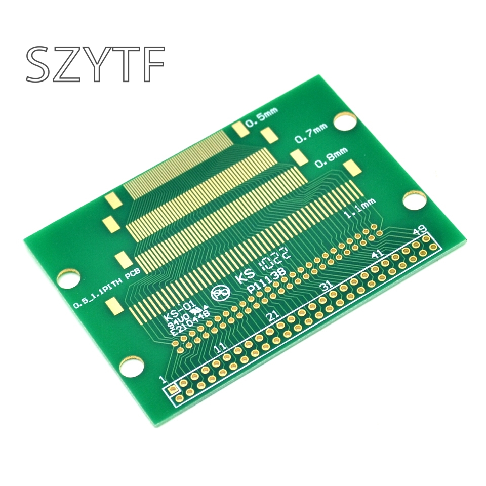 5pcs/bag 50Pin test board turn 2.0mm 2.54mm 2 rows of needle LCM TFT LCD pcb adapter plate test board