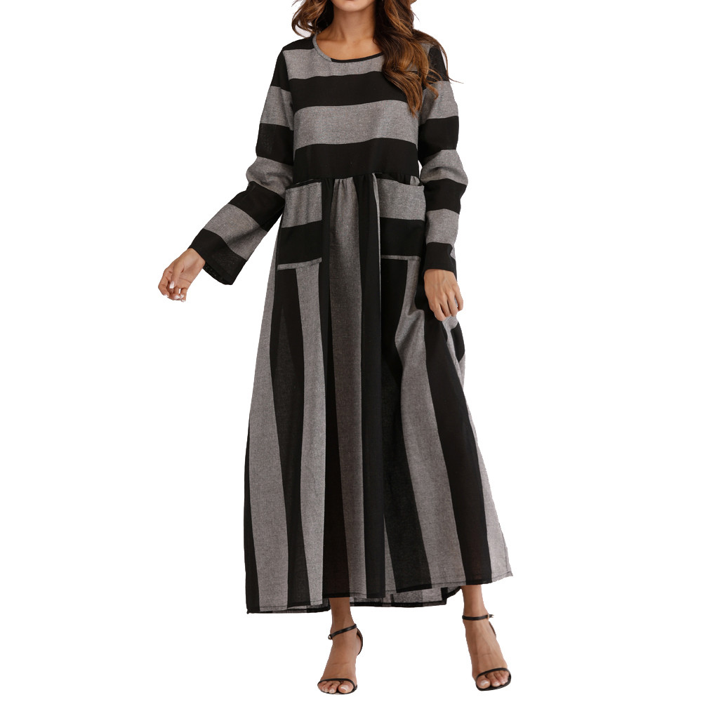 Popular Sale!Slimming Temperament Women Long Sleeve Cotton Linen Striped Loose Pocket Long Bohe Dress Kaftan Loose  Party