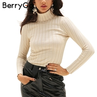 BerryGo Knitting Turtleneck Sweaters Women Casual Long Sleeve Cotton Woman Pullovers 2017 Autumn Winter Streatwear Sweaters