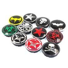 56mm Punisher cráneo estrella Pentagram Car wheel center hub caps aluminio  emblema de la insignia del d890ec8ea87
