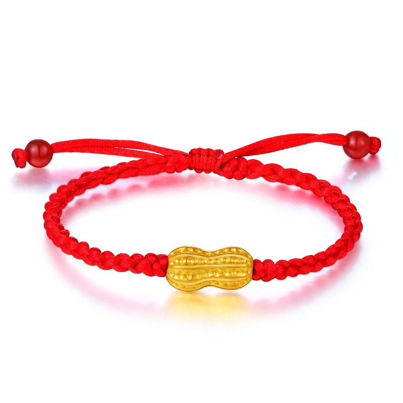 все цены на New Arrival Pure 24K Yellow Gold Peanut Red String Weave Bracelet