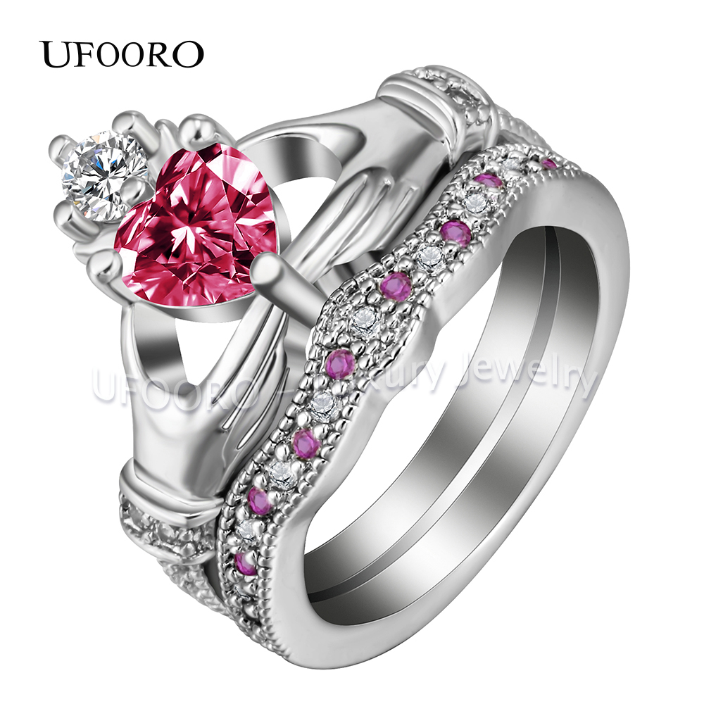 Trendy Claddagh Style Love Heart Cz Rings White Red Crystal Knot Women  Biker Gift Crown Wedding Engagement Ring Set