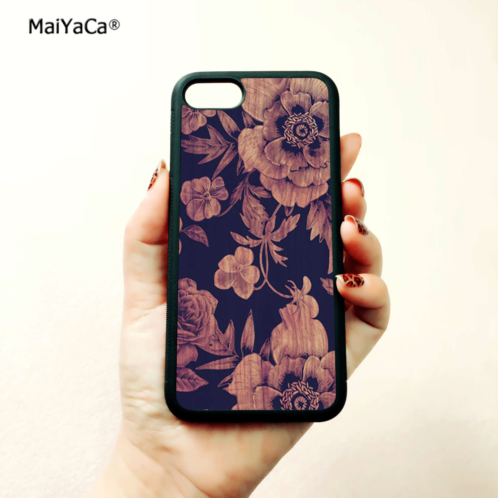 Wood floral soft silicone edge mobile phone cases for apple iPhone x 5s SE 6 6s plus 7 7plus 8 8plus XR XS MAX case in Half wrapped Cases from Cellphones Telecommunications
