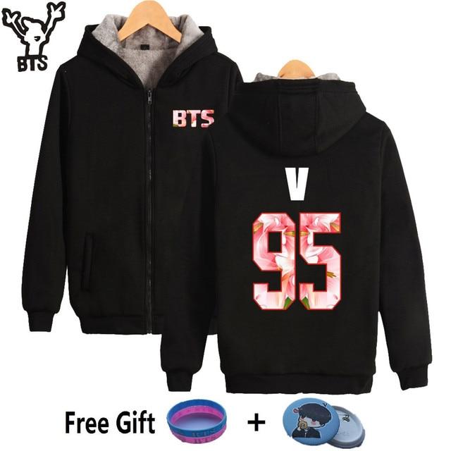ed21d4fc3929 BTS Bangtan Boys Women Hoodies Sweatshirts Zipper V 95 Long Sleeve Fashion  Thicker Winter Long Sleeve Sweatshirt Women Hoodies