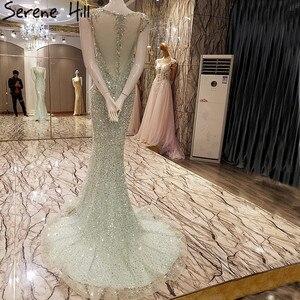 Image 2 - Vestido de noche de tul de sirena elegante, Sexy, de lujo, Lentejuelas de cristal larga, brillante, foto Real, LA6091, 2020