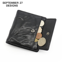 Wallet Men Top Genuine Leather Brand Fashion Short Wallets Vertical Small Clutches Men's coin Purses male Simple Bifold purse