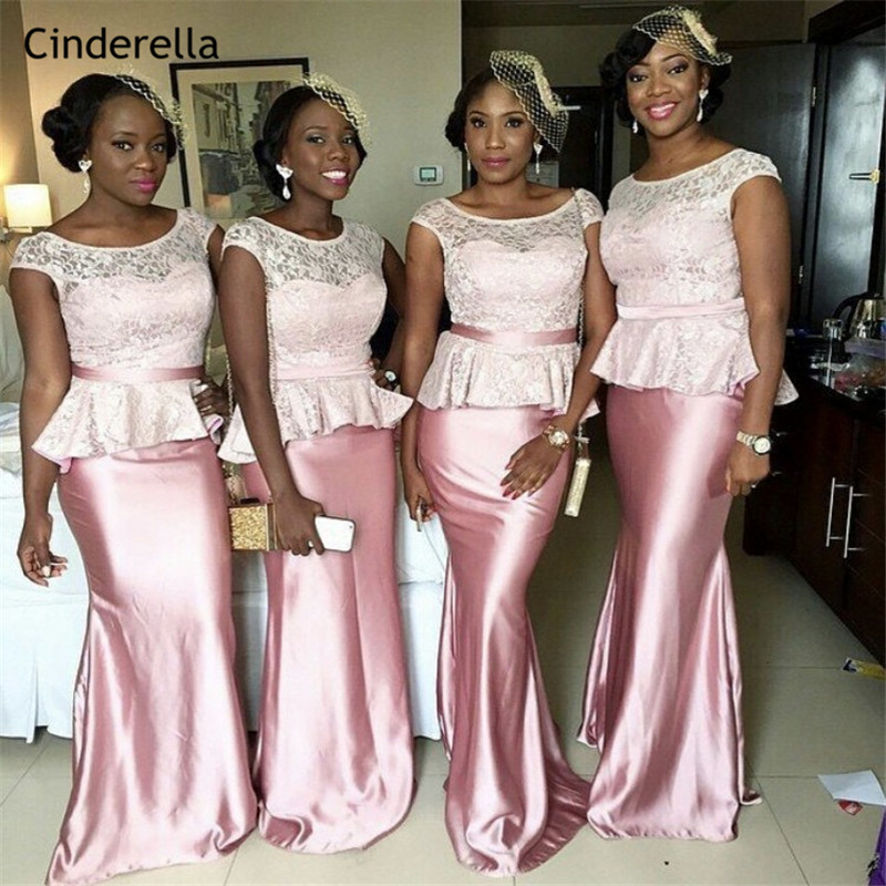 Cinderella African Pink Scoop Floor Length Lace Silk Satin Mermaid   Bridesmaid     Dresses   Trumpet Wedding Party   Bridesmaid     Dresses
