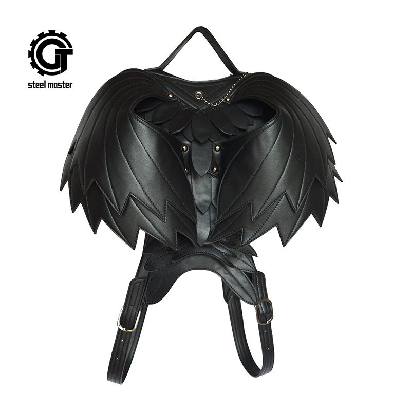 Steel Master Punk Gothic Heart-shaped Ladies Backpacks Fashion PU Leather Wings Bag Steampunk Women Victorian Shoulder Bags