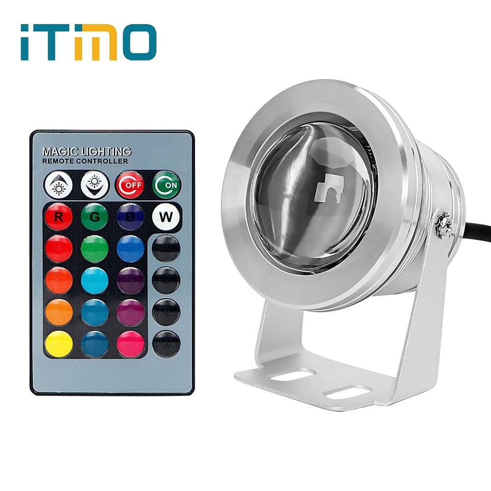 ITimo Aquarium Lamp LED Underwater Light IP67 Waterproof RGB DC12V 10W Fish Tank Bulb Aluminum Swimming Pool Spotlight