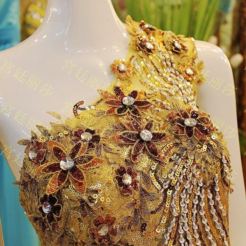jaune Soirée D'or Cristal Toast Mariage Jaune Une Épaule De Luxueux Bandage Rouge Coréenne Robe dUvwYvOq