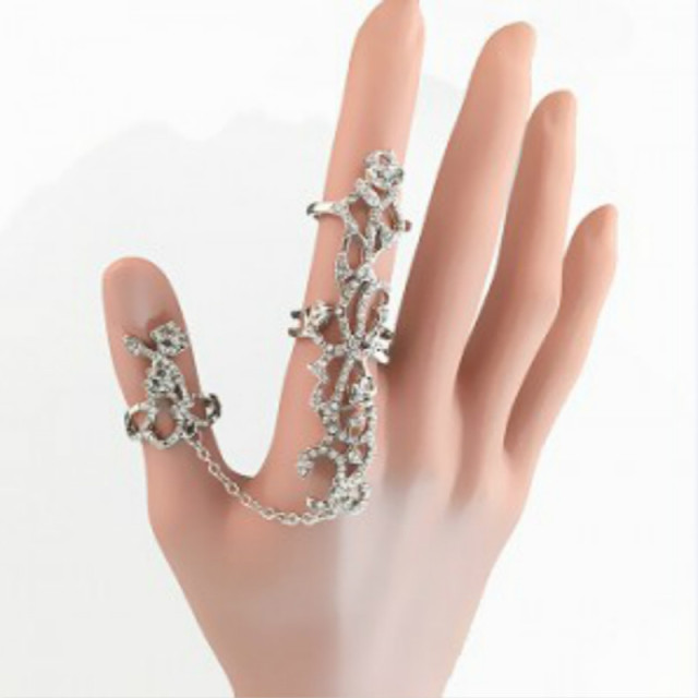 2017 new Women Romantic Leaves Double Fingers Rings for Women