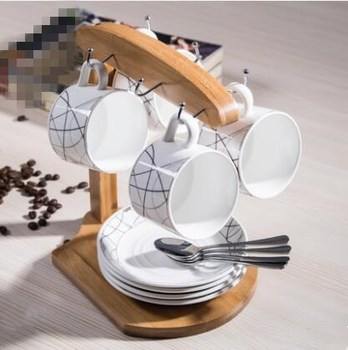 4 piece set / ceramic coffee cup wood frame / high-grade bone china coffee cup dish family party afternoon tea cup tea set