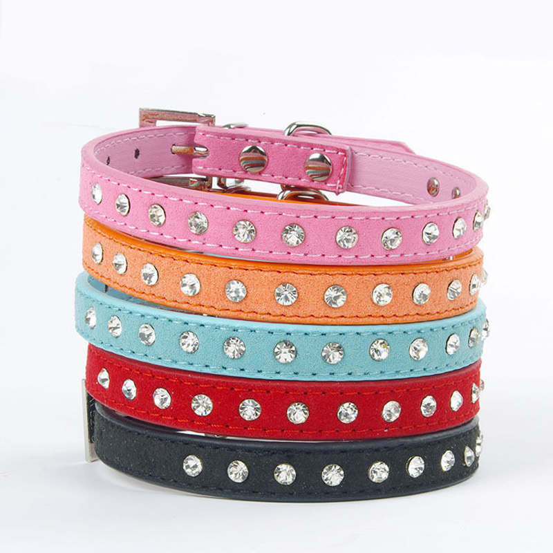 2pcs Bling Personalized Dog Collar Pet Cat Leather