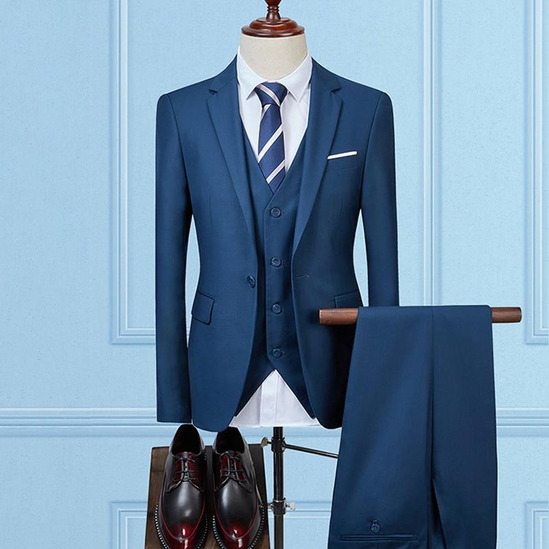 rouge Veste Hommes Mariage Pantalon D'affaires 2 Bal Costumes De Bleu Noir Fit Vêtements Pièces Homme Costume Slim marine bleu Un Bouton gris qvABvwH