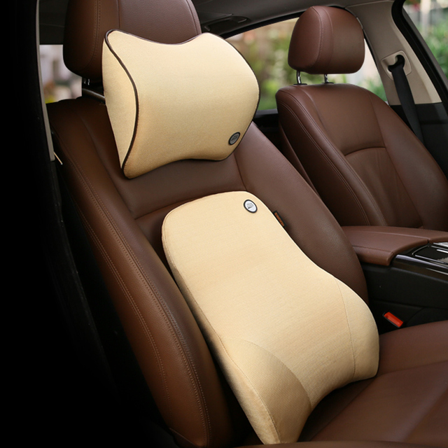 Car Neck Pillow Memory Foam Seat Supports Set For BMW VW Honda Brace