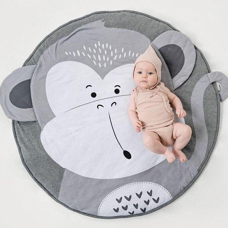 Детский круглый игровой коврик с обезьянкой, коврик для ползания, подушка для ползания, коврик с кондиционированием воздуха для детей, малышей, спальни - Цвет: Monkey