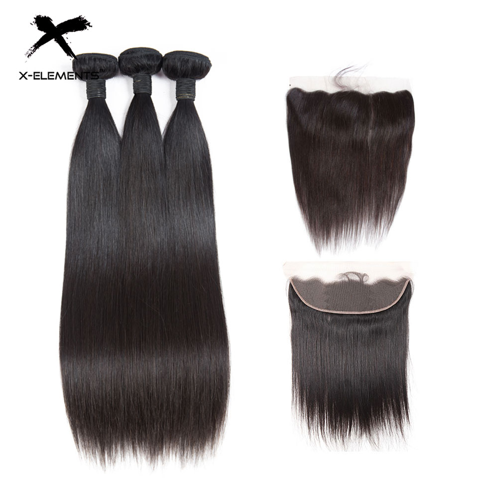 X Elements 13x4 Lace Frontal Closure With Bundles Brazilian Straight Hair Human Hair Bundles With Closure