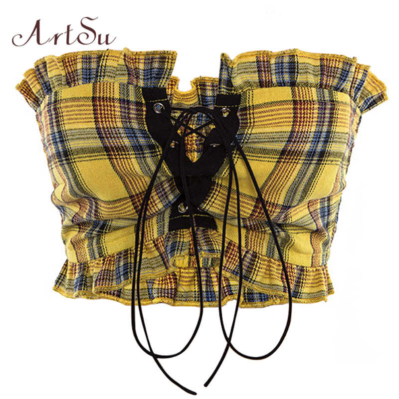 ArtSu Plaid Ruffle Lace Up TOP SEXY Bohemian ฟิตเนสสีเหลือง Crop TOP Off Backless VINTAGE สั้น ASVE20275