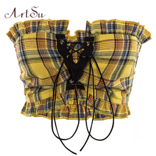 ArtSu Plaid Ruffle Lace Up Tank Top Sexy Bohemian Fitness Yellow Crop Top Off Shoulder Backless Vintage Short Tops ASVE20275