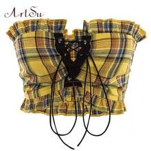 Artsu regata xadrez de renda plissada, estilo boêmio, fitness, amarelo, cropped, costas nuas, vintage, curta, asve20275