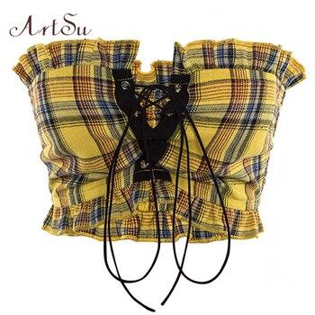ArtSu cuadros con volantes encaje tanque Top Sexy bohemio Fitness Top amarillo recortado de hombro Vestido corto Vintage Tops ASVE20275