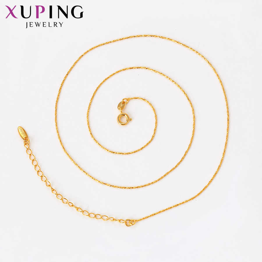 Xuping シンプルでエレガントなネックレスチャームスタイルロングネックレス女性チェーンクリスマスジュエリーギフト S83 、 6-44198