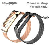 Mijobs Milanese Metal Strap For Xiaomi Mi Band 2 Strap Stainless Steel Bracelet Wristbands Replace Accessories