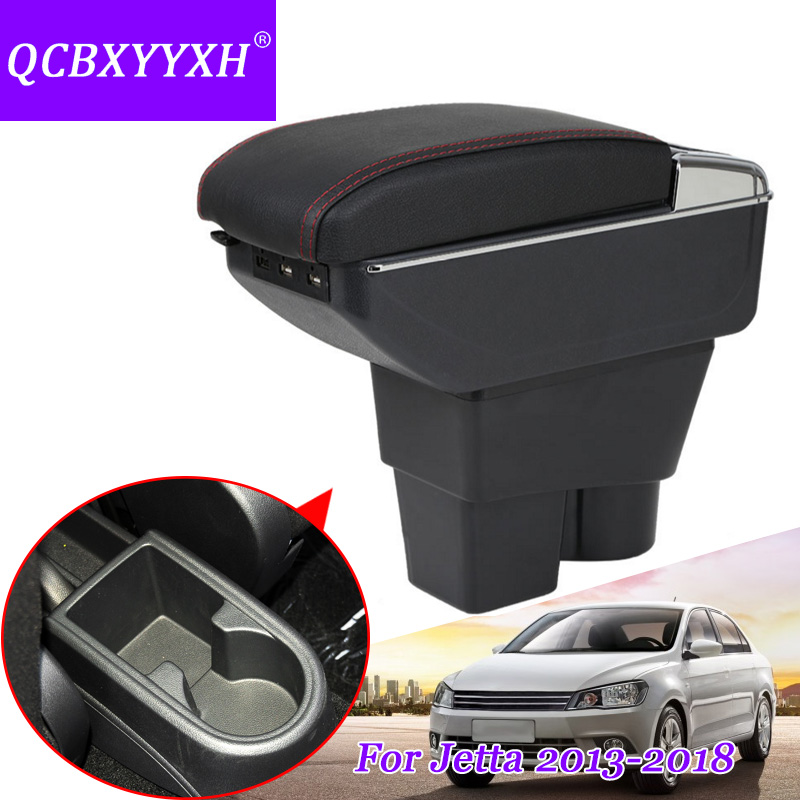 QCBXYYXH Case For VW Jetta 2013-2018 Armrest Box Central Store Content Storage Box With Cup Holder Auto Ashtray Car Styling universal leather car armrest central store content storage box with cup holder center console armrests free shipping
