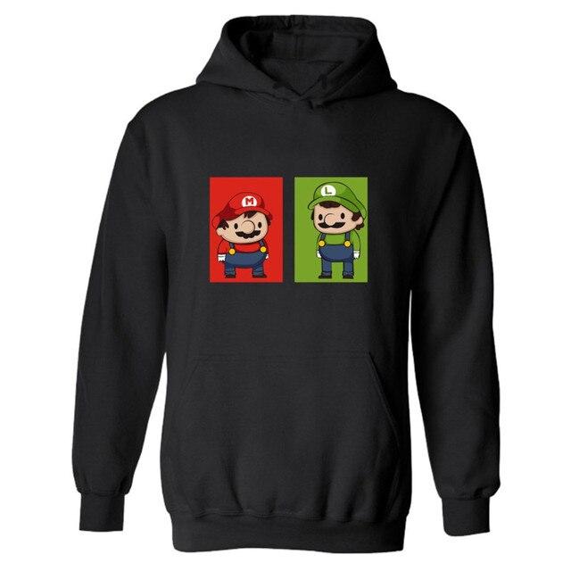 Супер Марио Черный Толстовка Хип-Хоп XXXL Капюшоном Уютно Игры Super Mario Мужские Толстовки и свитера Негабаритных для Человека
