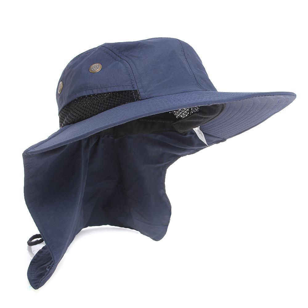 5d5501037c8 2018 Summer New Bucket Sun Flap Bonnie Snap Hat Neck Ear Cover Cap Fishing  Hiking Hunting