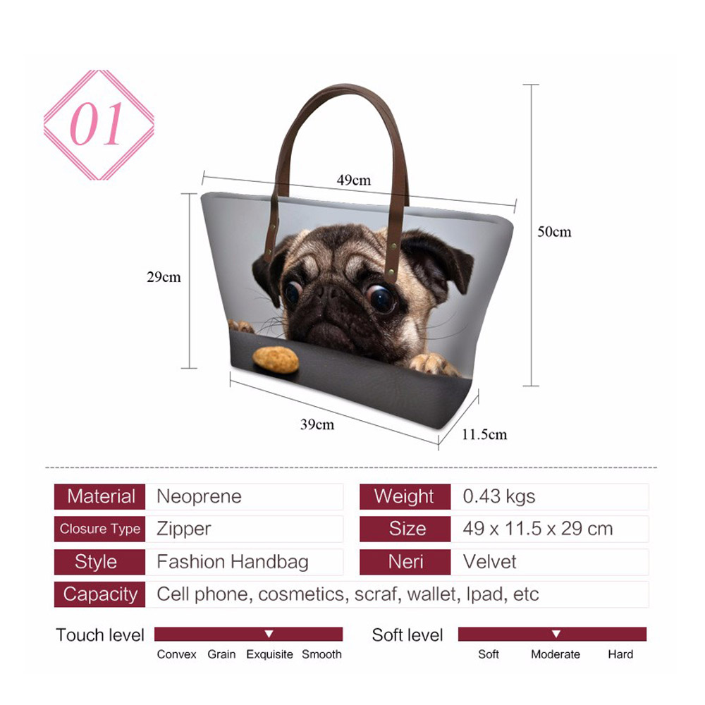 THIKIN-Ladies-Shoulder-Bags-for-Women-Snow-Day-French-Bulldogs-Printing-Handbags-Females-Travel-Hand-Tote