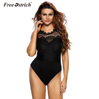 Free Ostrich 2017 Lace Bodysuit Women Sexy Black Skinny High Neck Cut Out Back Bodycon Romper