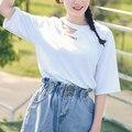 Verão novo Coreano letras impressas casual estilo Europeu oco em torno do pescoço curto-de mangas compridas T-shirt para as mulheres